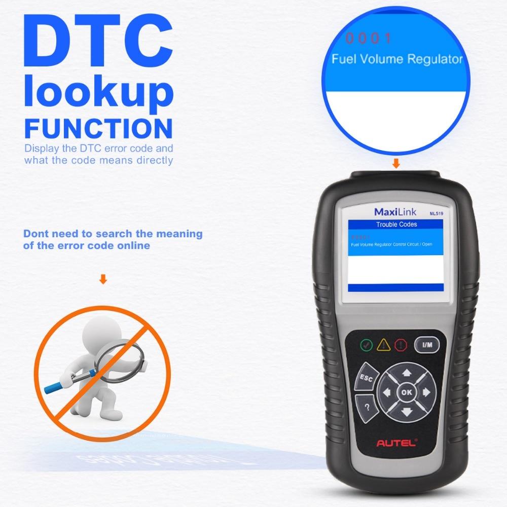 Image 4 - Autel MaxiLink ML519 OBD2 сканер Авто диагностический инструмент стетоскоп автомобильный ELM327 сканер двигателя OBD 2 код ридер EOBD (система бортовой диагностики-in Считыватели кодов и сканирующие инструменты from Автомобили и мотоциклы