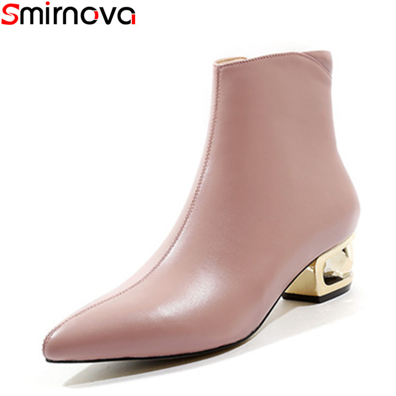 Cuir Rose Chaussures Épais Nouvelle Gros Talons Med rose Noir Bottes Dames Noir 2018 En Bout Partie Pointu Femmes Smirnova Arrivée 8OTqwpgXq