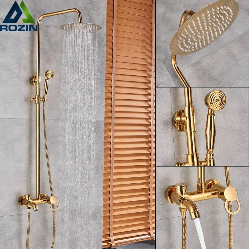 Golden Shower Set Faucet Single Handle 3 ways 8 Rainfall Shower Mixer with Handshower Waterfall Spout