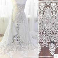 135cm wide fashion designer lace fabric Luxury embroidery white quality gauze dress clothes diy material wedding dress material