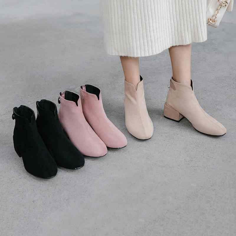 2020 yeni varış rahat fermuar yuvarlak ayak yüksek topuklu kadın yarım çizmeler pist tatlı moda çizmeler sıcak kış ayakkabı tutmak L02