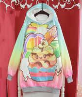 かわいい冬レディースロリータ桜ウサギかわいい緩いパーカーケーキ原宿ロングスリーブトップtシャツ緩いカラフルな妖精甲斐
