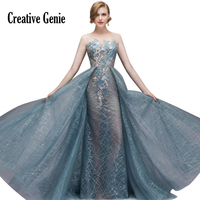 chiffon Lace Bridesmaid dress Long section blue Fashion 2018 New elegant Sexy cocktail Bride wedding party dresses Red carpet