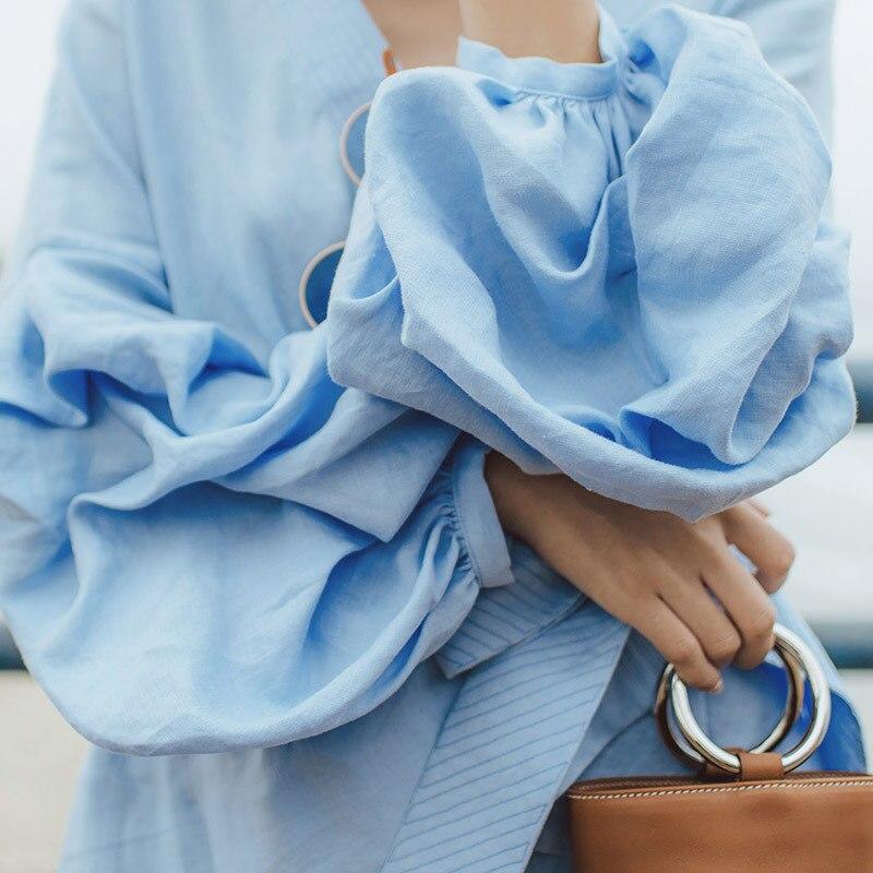 Haute Jambe Up Pantalon Dentelle Manches Lanterne Tops Femme Shirt Kimono Blouse 2018 Twotwinstyle Femmes Set Costume Blue Deux Large Pièce Taille CwgSqntPax