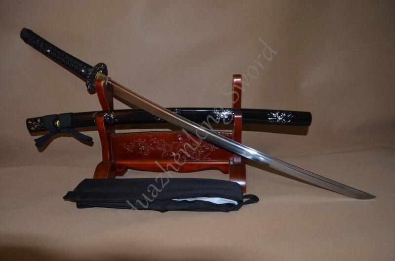 1095 en acier à haute teneur en carbone Trempé D'argile Lame Japonais Samouraï Katana Épée À La Main dragon tsuba classique