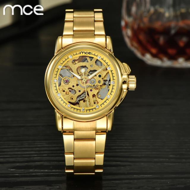 8af20d07349 Mulheres relógios novo relógio esqueleto mce ouro das mulheres marca de luxo  mecânico automático relógio de