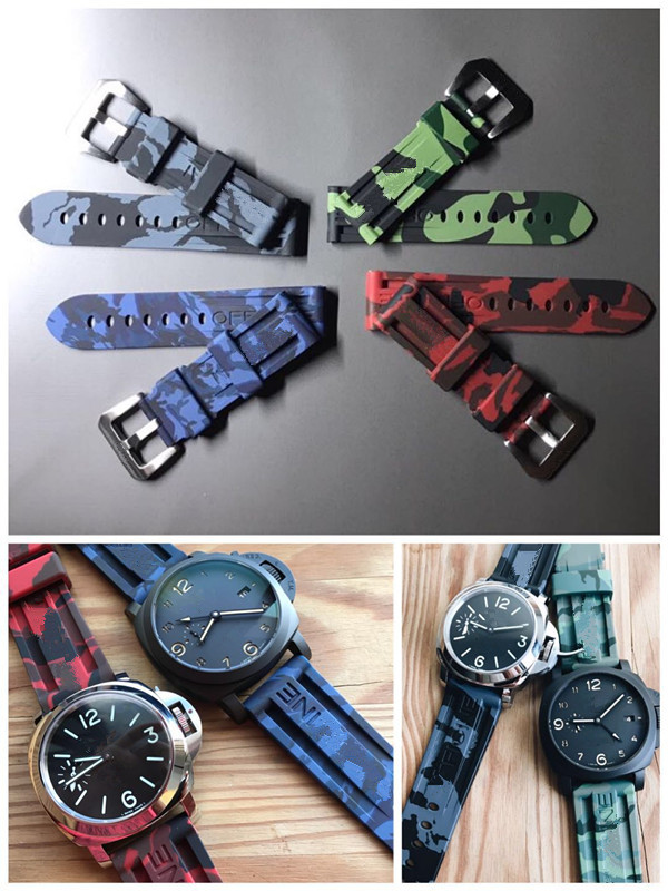 22mm 24mm Camo Gray Green Red Blue Camouflage Silicone Rubber Watchband Strap For Panerai Strap For PAM111 Watch Band Bracelet