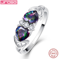Jrose Heart Natural Mystic Fire Rainbow Topaz 925 Sterling Silver Ring Engagement Wedding Rings S925 AAA