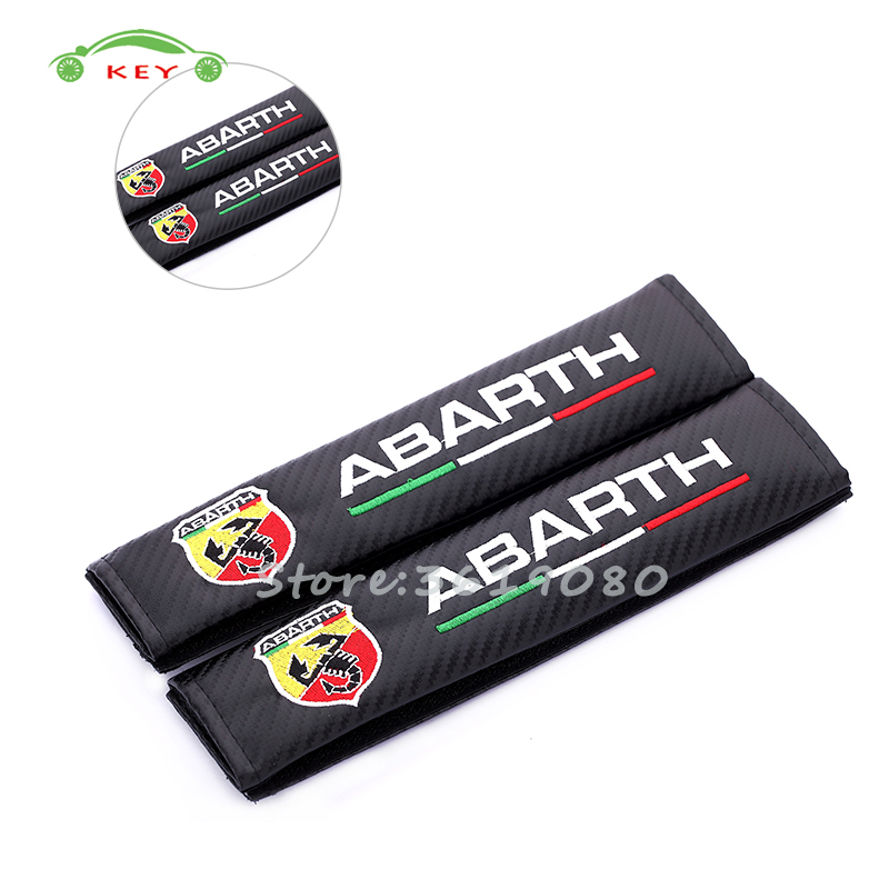 For Abarth Car Safety Seat Belt Cover Shoulder Pads Cushion for Abarth 595 fiat 500 punto 124 spider alfa romeo Car Accessories