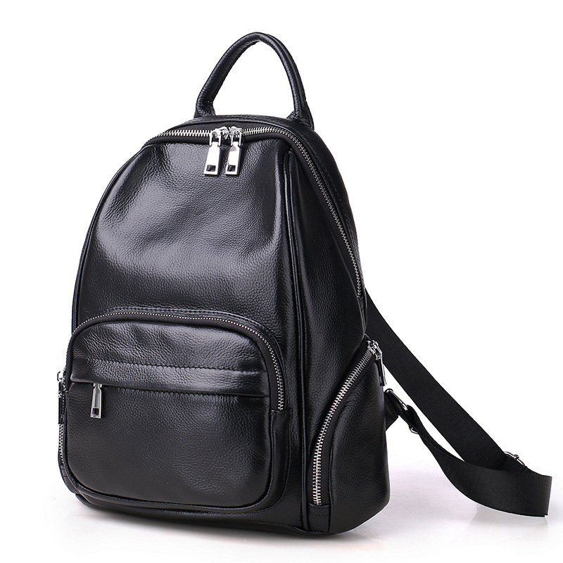 2017 Fashion Backpack Women Backpacks Real Leather School Bags For Girl Shoulder Bag Female High Quality Daily Daypacks Black