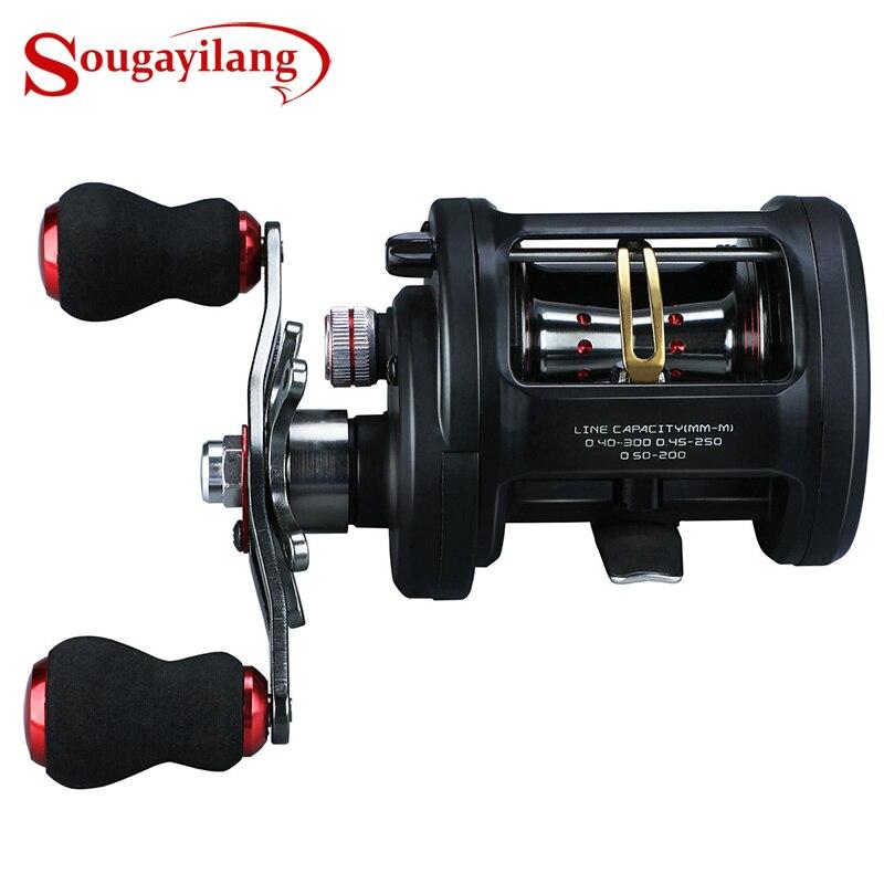 Sougayilang moulinet de pêche à la traîne à droite/à gauche Pesca moulinet de pêche ronde Baitcasting bobine eau salée 18 + 1BB 6.3: 1 moulinet de carpe à la traîne