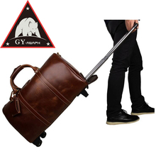 ANAPH Rolling Suitcase Men's Calfskin Leather Brown Carry On Luggage Business Travel Wheeled Duffle Bags 21 Inch Reise Koffer
