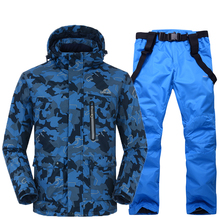 Men Snow suit sets outdoor sports ski suit sets snowboarding Skiing clothing -30 winter Costumes Camouflage jacket +bib pant