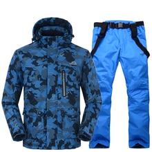 Mężczyźni Śnieg garniturów zestawy zestawy boisko sportowe kombinezon narciarski snowboard Narty odzież-30 zima Kostiumy Kamuflażu kurtka + bib pant