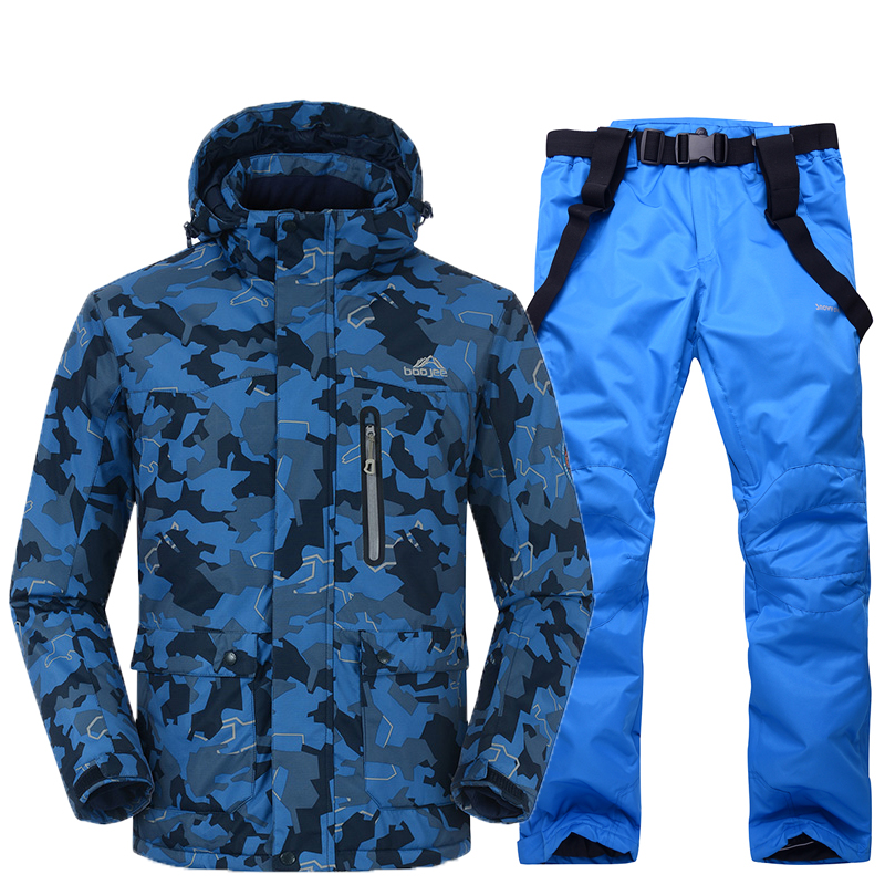 Men Snow suit sets outdoor sports ski suit sets snowboarding Skiing clothing -30 winter Costumes Camouflage jacket +bib pant 30 cheaper woman snow coats skiing suit jacket snowboarding clothing waterproof windproof winter snow costumes ski garment hot