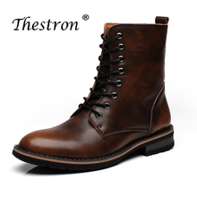New Luxury Working Boot Men Mid-Calf Vintage Brown Man Boots Round Toe Mens Split Leather Rubber Non-Slip Timber Land