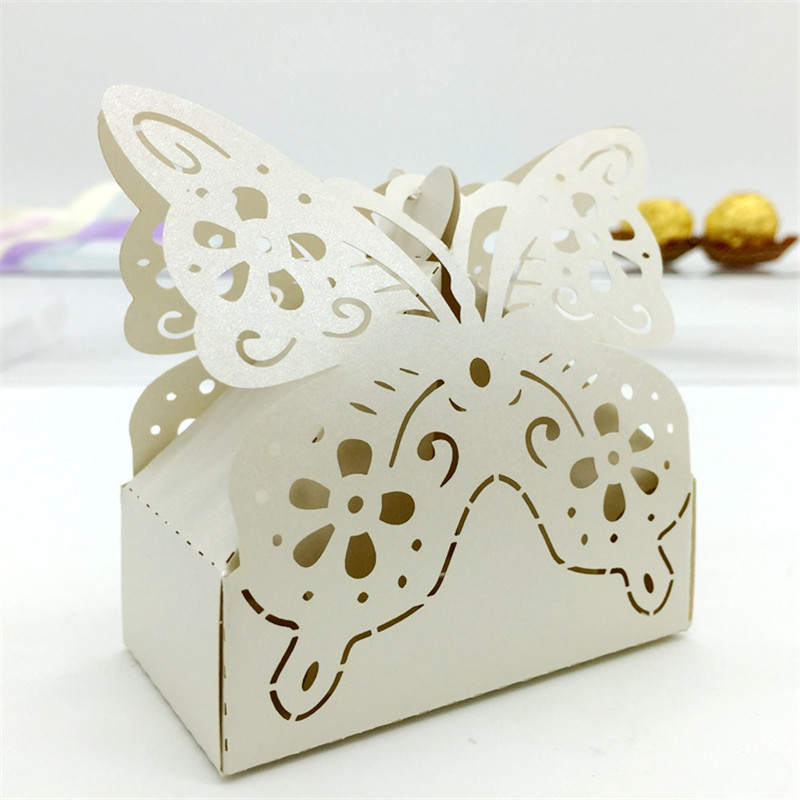 Wedding Gifts From Hawaii: Butterfly Laser Flower Wedding Candy Box Wedding Favors