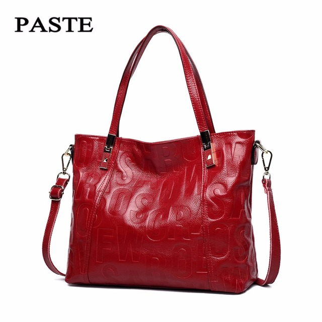 PASTE Famous Brand 2017 New Fashion Style Women Handbags/Top Genuine Cow Leather Shoulder bag/Soft Real Natural Cowskin Tote Bag