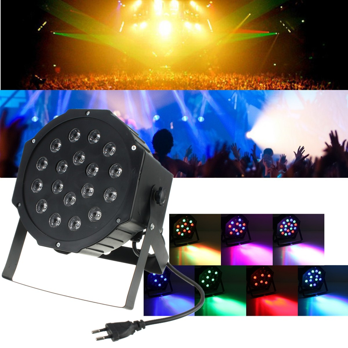 18W RGB LED Stage Light Par DMX-512 Lighting Laser Projector Party DJ Lamp for DJ Party Disco AC110 - 220V Power plug dmx 512 rgb led stage light 12w sound active stage lighting effect laser strobe projector lamp for party dj disco ac90 240v