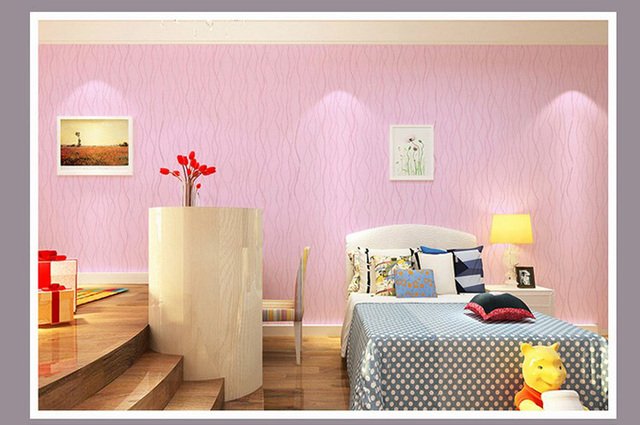 The new Pure colour PVC simple printed wallpaper bedroom living room ...