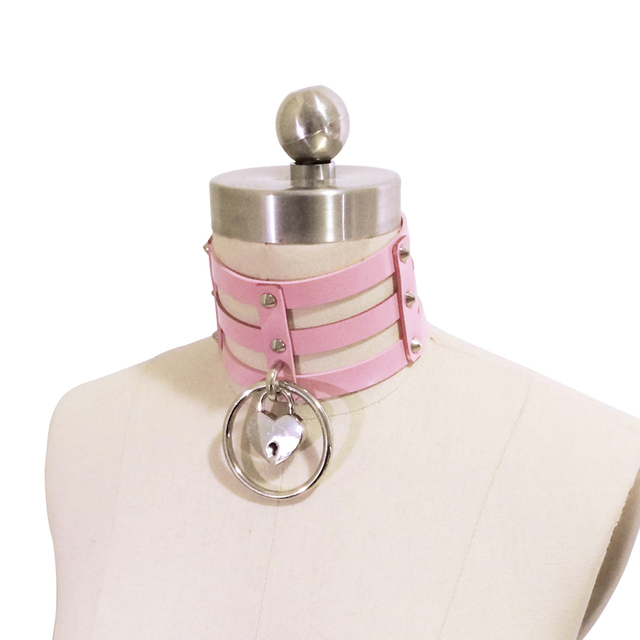 Kawaii Pastal Pink Punk Rock Lolita Harajuku Handmade Safe Heart Choker Lock Key Three Row Caged O Round Collar Necklace