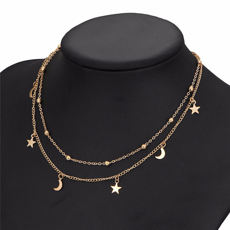 Gold Color Star Moon Pendant Necklaces Women MultiLayer Round Beads Clavicle Chain Chokers Bohemian Fashion Jewelry Accessories
