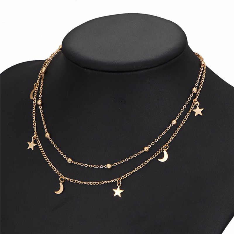 Złoty kolor gwiazda wisiorek z księżycem naszyjniki kobiety wielowarstwowe okrągłe koraliki łańcuszek do obojczyka Chokers czeski biżuteria akcesoria