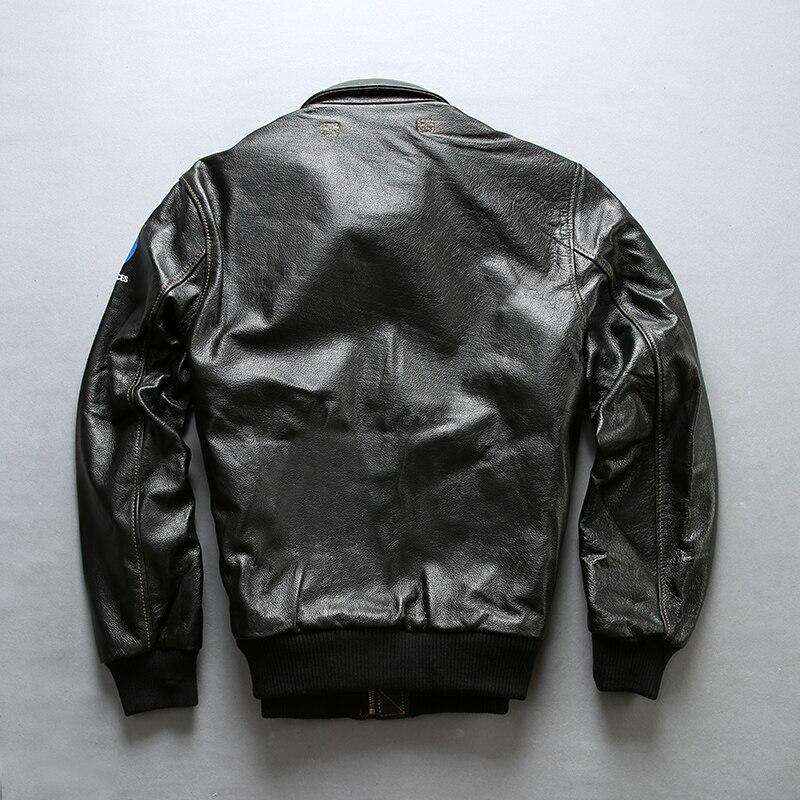 Facotry 2018 nueva chaqueta de piloto A2 negra/marrón para hombres chaquetas ajustadas casuales de piel de vaca genuina Rusia abrigos de invierno S 4XL - 2