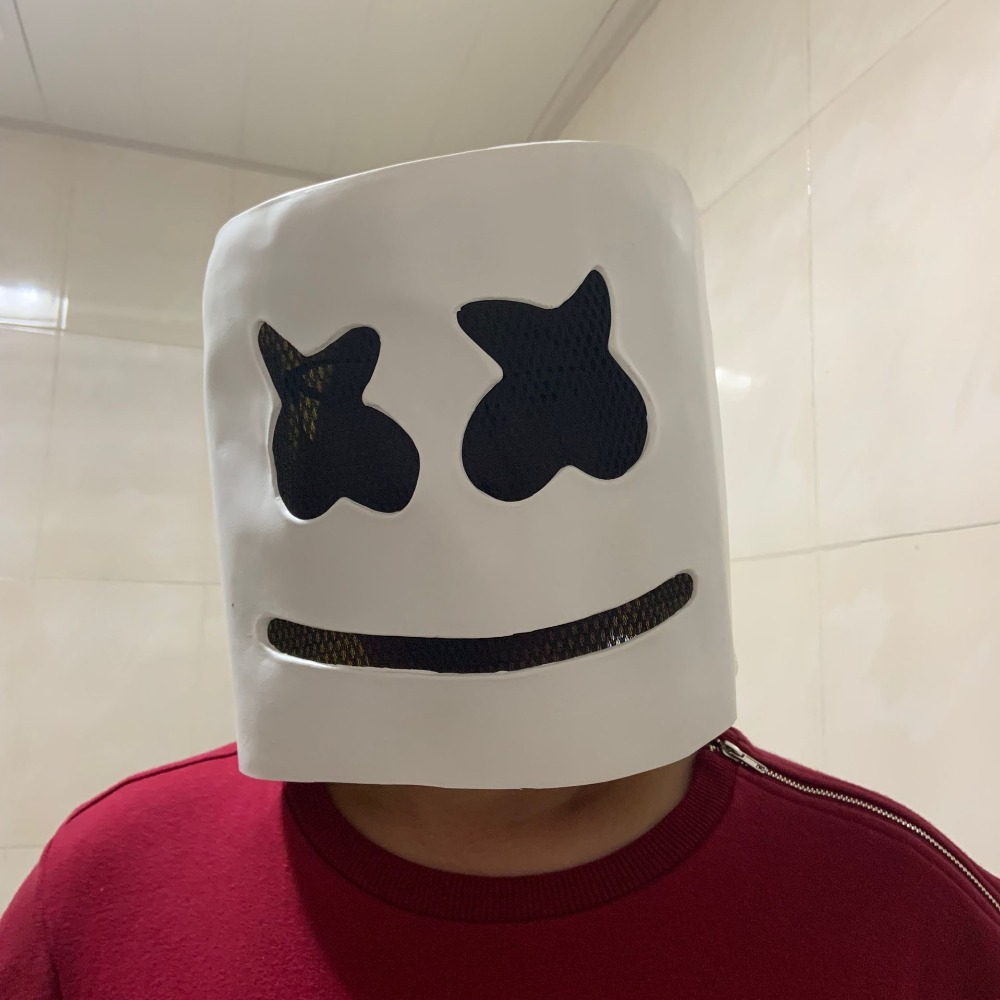 DJ Marshmello Cosplay Mask Full Face Latex Prop Helmet Masks Women Man Mask Party Bar Electronic Syllable Cosplay Helmet