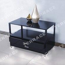Lucite Тумбочке Стола с выдвижными ящиками, акрил столики, лампа