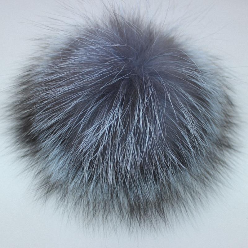 10pcs/lot Wholesale Price DIY 8-14cm Silver Fox Fur Pompom Fur Ball For Women Kids Winter   Skullies     Beanies   Hat And TWF007