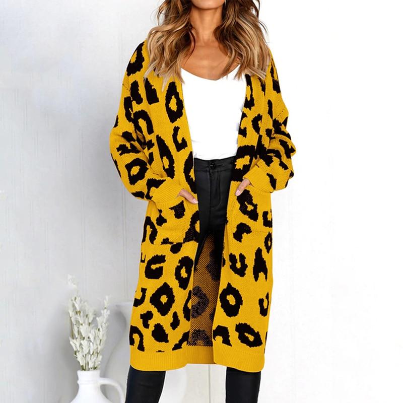 Women Christmas Knitted Cardigan Sweater Leopard Print Long Cardigans Pockets Slim Autumn Winter Outerwear Knitwear Sueter Mujer