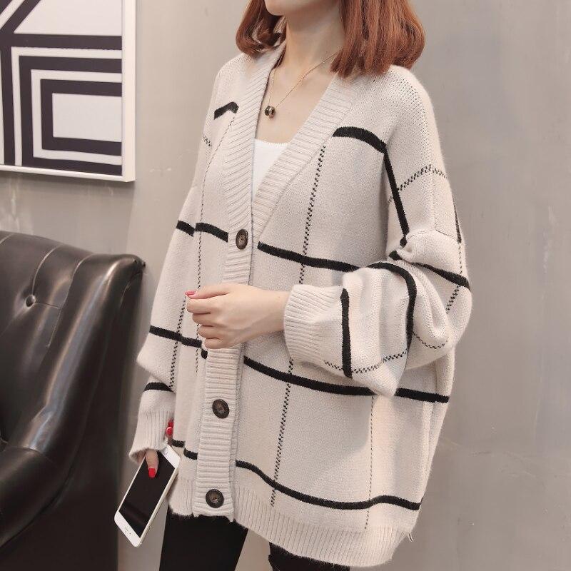 2019 femmes à manches longues tricoté Cardigan chandail avec boutons dames automne hiver 2019 nouveau surdimensionné cachemire chandails manteau XXXL - 3