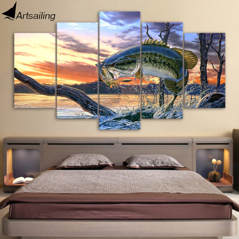 Aliexpress Com Buy Hd Printed Jumping Fish Landscape Art Painting Canvas Print Room Decor Print Poster Picture Canvas Free Shipping Ny 5844 From Reliable