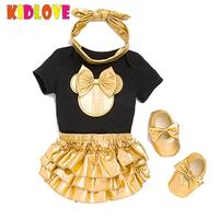 KIDLOVE Baby Girl 4pcs Clothes Sets Black White Cotton Short Sleeve Rompers Golden Ruffle Dress Shoes