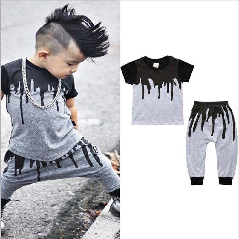 2018 baby clothes summer children set cotton short sleeves T-shirt tops+pant 2pcs clothing set kids boy girl outfit suit