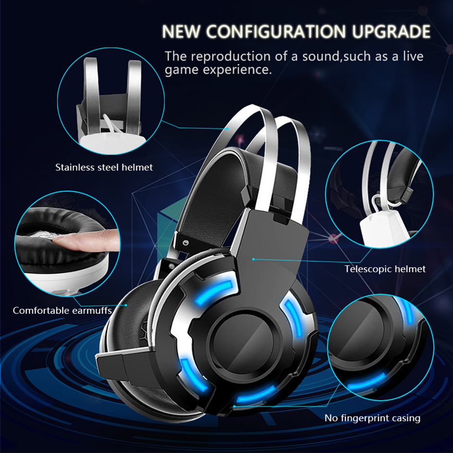 TOPYING Wired Gaming Headset With Microphone For Xbox One Ps4 Headphone LED  For Computer 3D Surround Sound Video Gaming Headset -in Headphone/Headset