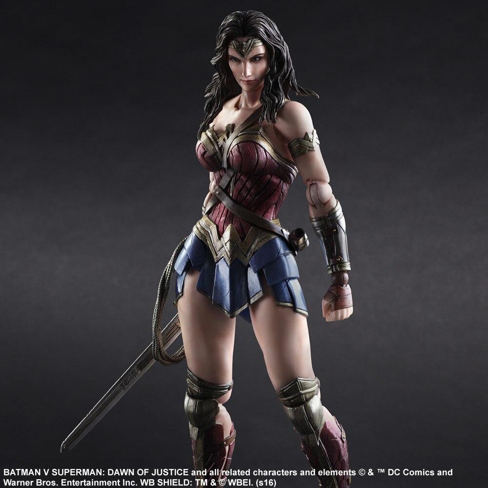Jouer Arts Kai Wonder femme figurines d'action PVC jouets aube de la Justice 260mm Anime film Superman VS Bat Man Playarts Kai modèle