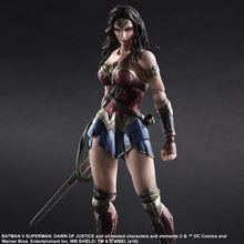Play Arts Kai Wonder Woman Action Figures PVC Toys Dawn of Justice 260mm Anime Movie Superman VS Bat Man Playarts Kai Model