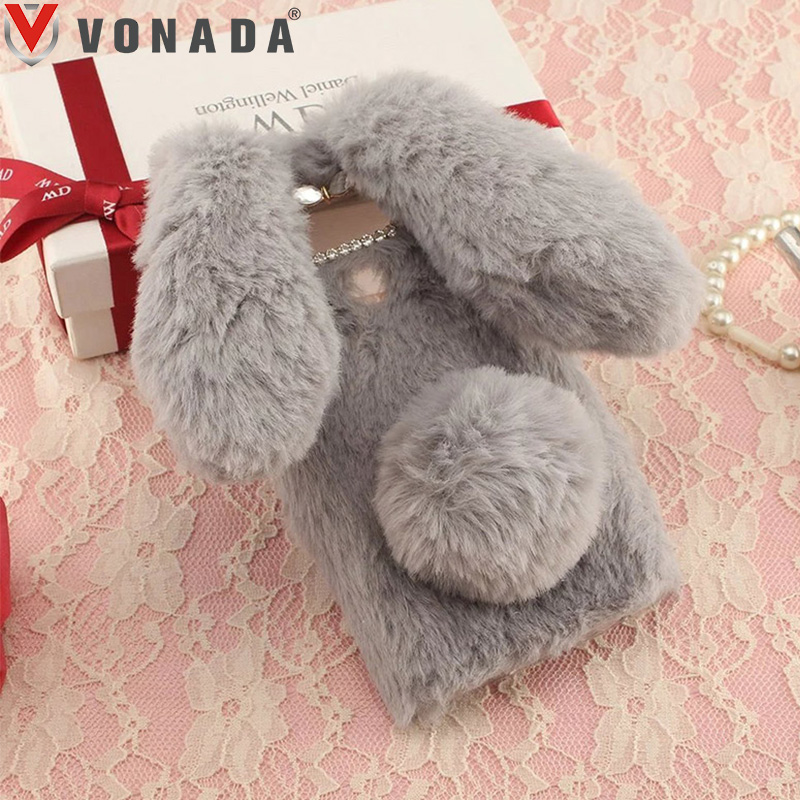 Vonada Winter Plush Case for ZTE Blade V8 Lite X5 D3 V5 Pro N939St A310 A520 Cute 3D Rabbit Ears Fur TPU Diamond Soft Case Cover
