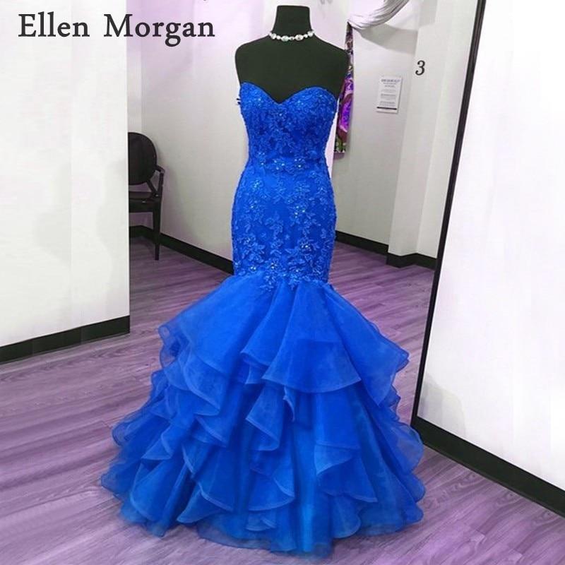 Royal Blue Mermaid Prom Dresses for Women 2019 Stones Beads Sweetheart Floor Length Lace up Corset Vestido De Festa Party Gowns