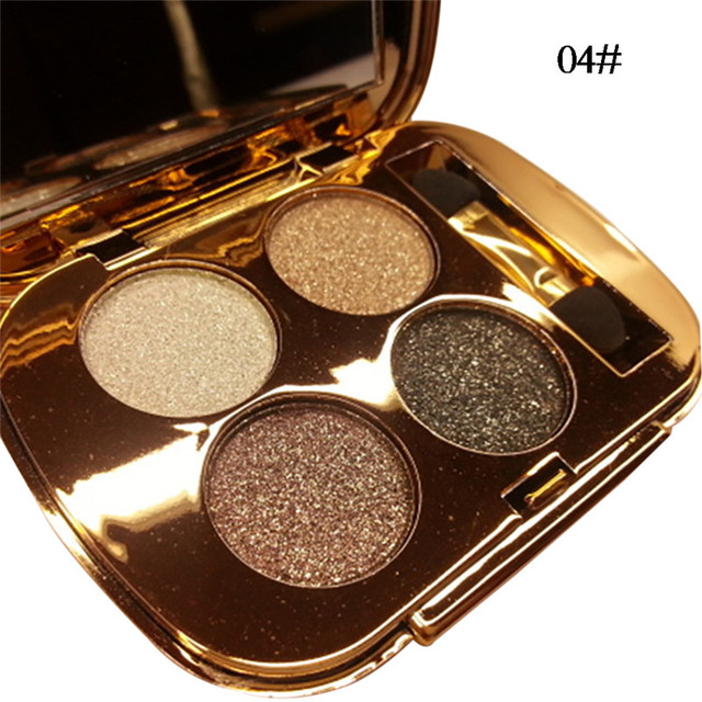 New 4 Colors Gold Smoky Cosmetics Diamond Bright Glitter Eye Shadow  Professional Eye Makeup Eyeshadow Palette 1