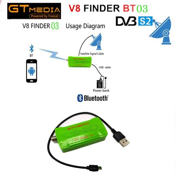 GTMEDIA V8 Finder BT03 1pcs 1080p satFinder vs freesat v8 finder DVB-S2 bluetooth control via android i phone for hd signal alilo медиаплеер классный зайка v8 c bluetooth