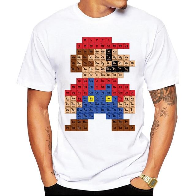 2018 Men Fashion T Shirt Hipster Printed Tee Shirts Short Sleeve Tops Super Mario Periodic Table T-Shirt