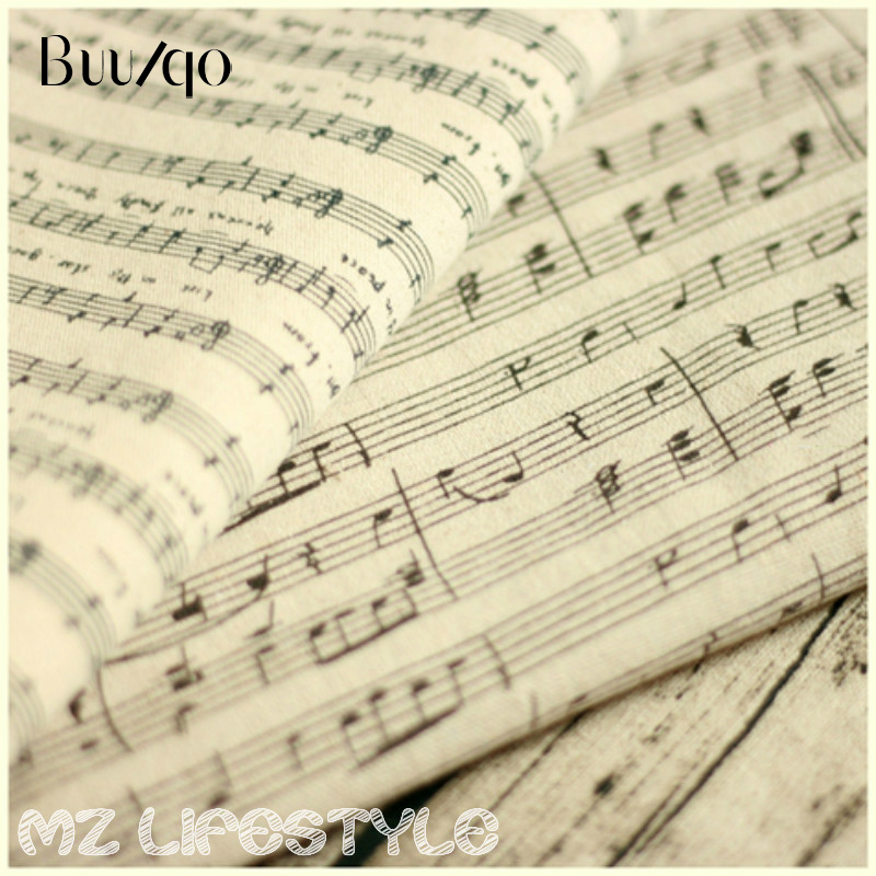 Buulqo 100*155cm cotton linen blend fabric retro upholstery printed Piano music linen fabric DIY home decor cotton fabric