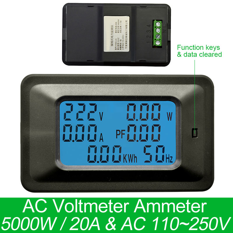 AC220V 20A Digital Voltage Meter Energy Meter LCD 5KW Power Voltmeter Ammeter Current Amps watt meter tester detector indicator g t power 130a 150a rc watt meter power analyzer digital lcd tester 12v 24v 36v high precision