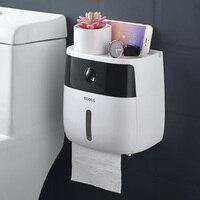 LF82003 Bathroom Waterproof Tissue Box Plastic Bath Toilet Paper Holder Wall Mounted Paper Storage Box Double Layer Dispensier