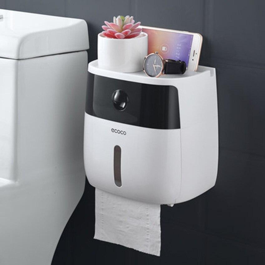 LF82003 titular de papel higiénico creativo de baño de plástico titular de papel higiénico montado en la pared de papel de caja de almacenamiento de aseo dispensador de papel