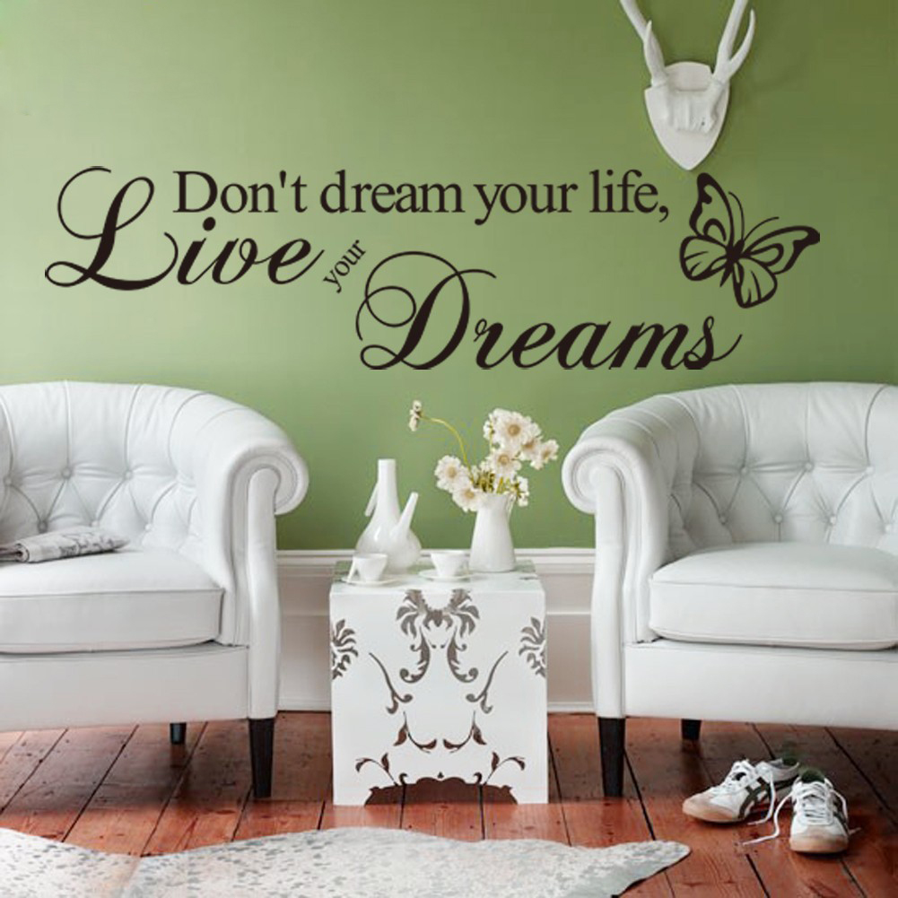 high quality dream love quote buy cheap dream love quote lots from new lovely removable don t dream your life butterfly pvc wall mural wall sticker quote