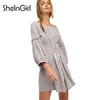 SheInGirl Solid Grey Sweet Mini Dress Women Adjustable Waist Slim Casual Lace Up Ruffles Elegant Fashion